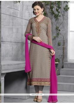 Brown Georgette Designer Salwar Kameez