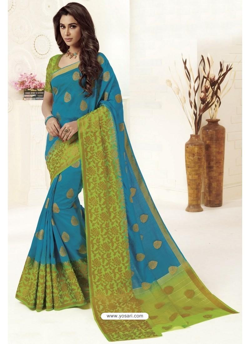Blue Tussar Silk Designer Saree