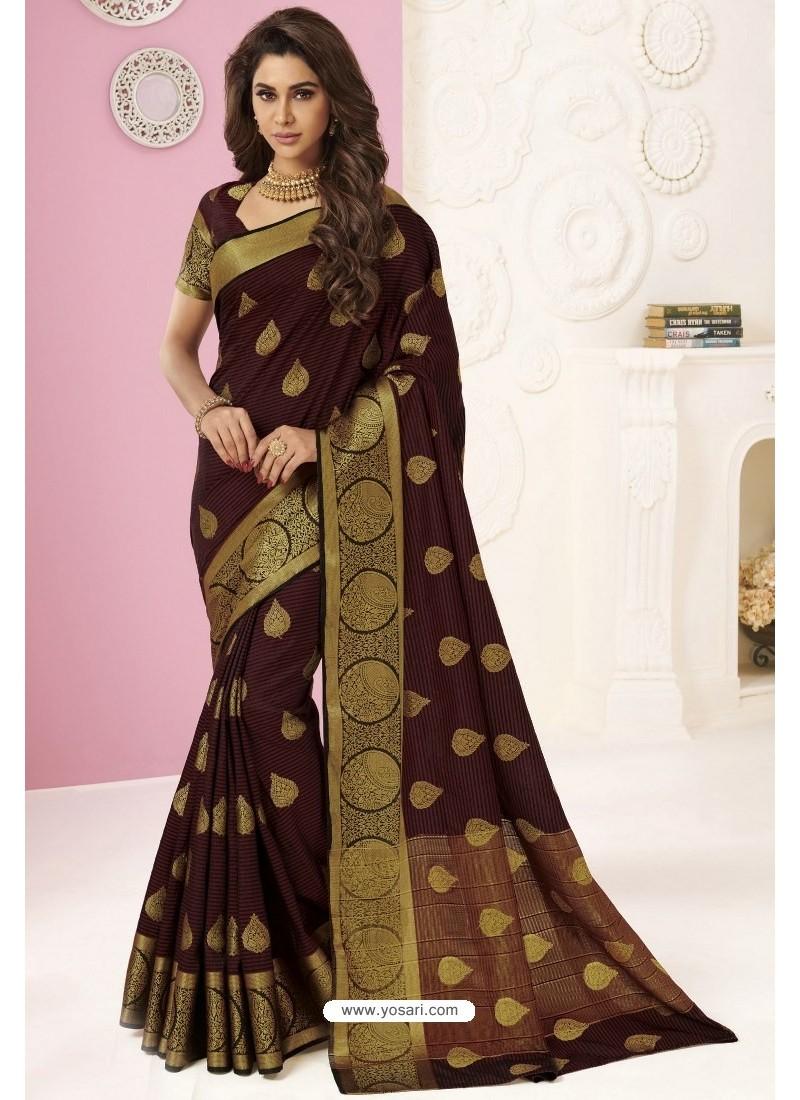 Coffee Tussar Silk Designer Saree