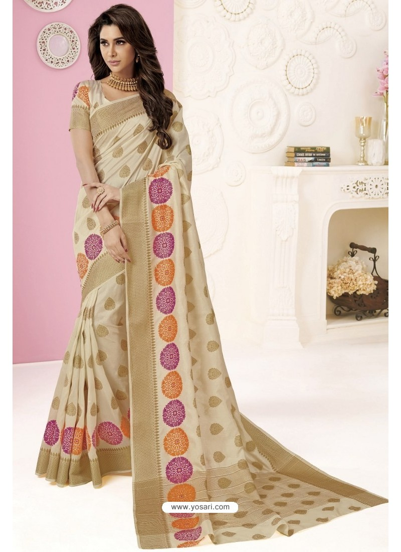 Light Beige Tussar Silk Designer Saree