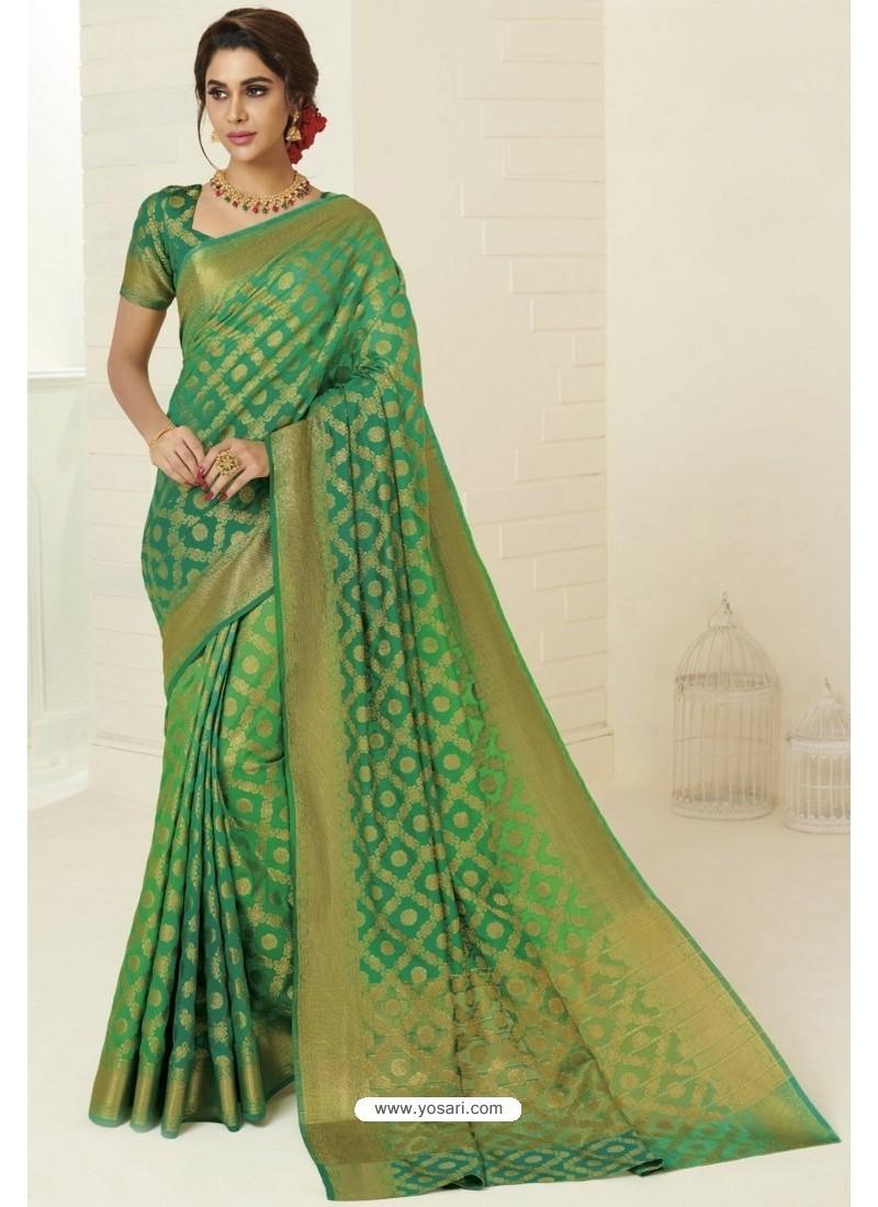 Forest Green Tussar Silk Designer Saree