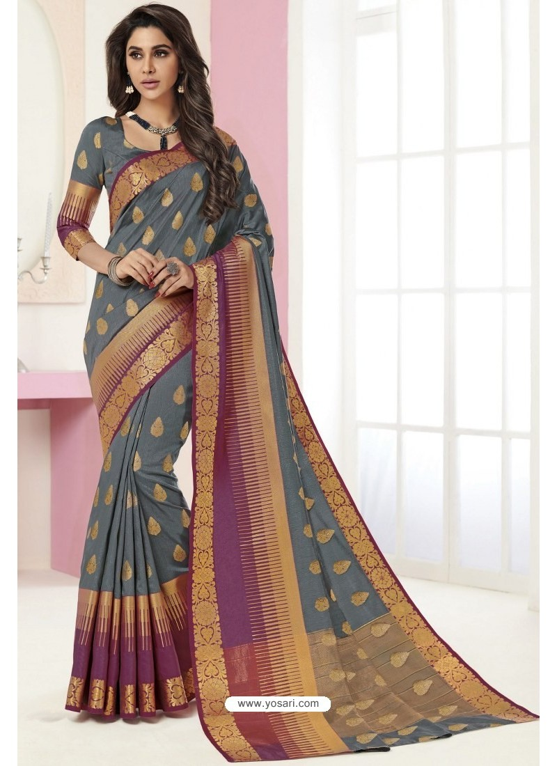 Grey Tussar Silk Designer Saree
