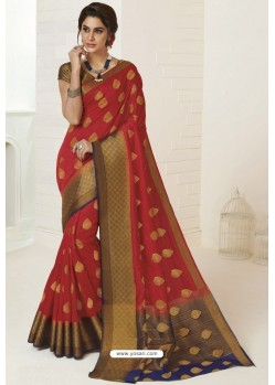 Red Tussar Silk Designer Saree