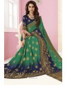 Navy And Green Tussar Silk Designer Saree