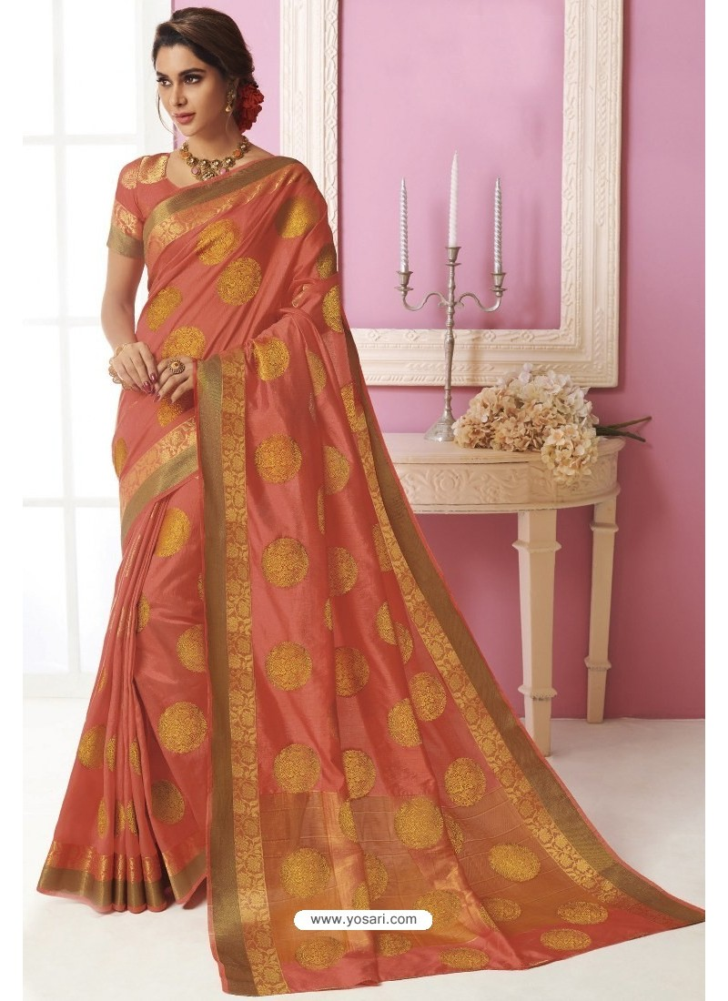 Peach Tussar Silk Designer Saree