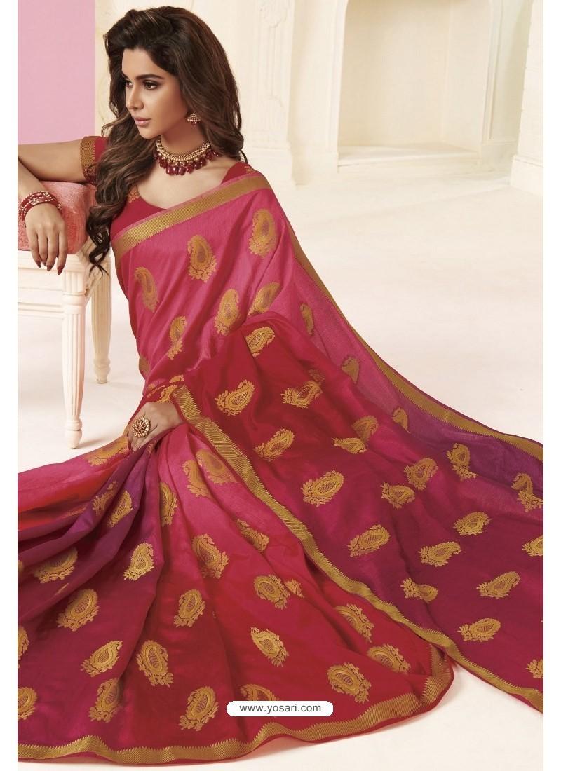 Medium Violet Tussar Silk Designer Saree