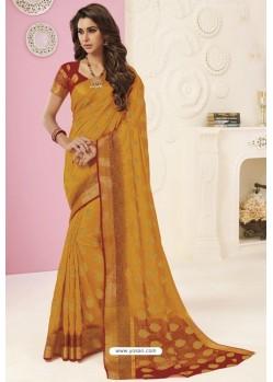 Mustard Tussar Silk Designer Saree