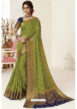 Green Tussar Silk Designer Saree