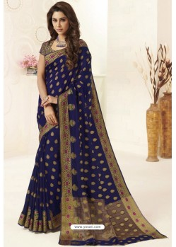 Navy Blue Tussar Silk Designer Saree