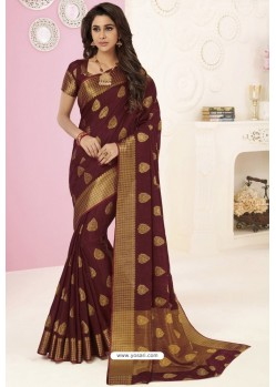 Brown Tussar Silk Designer Saree
