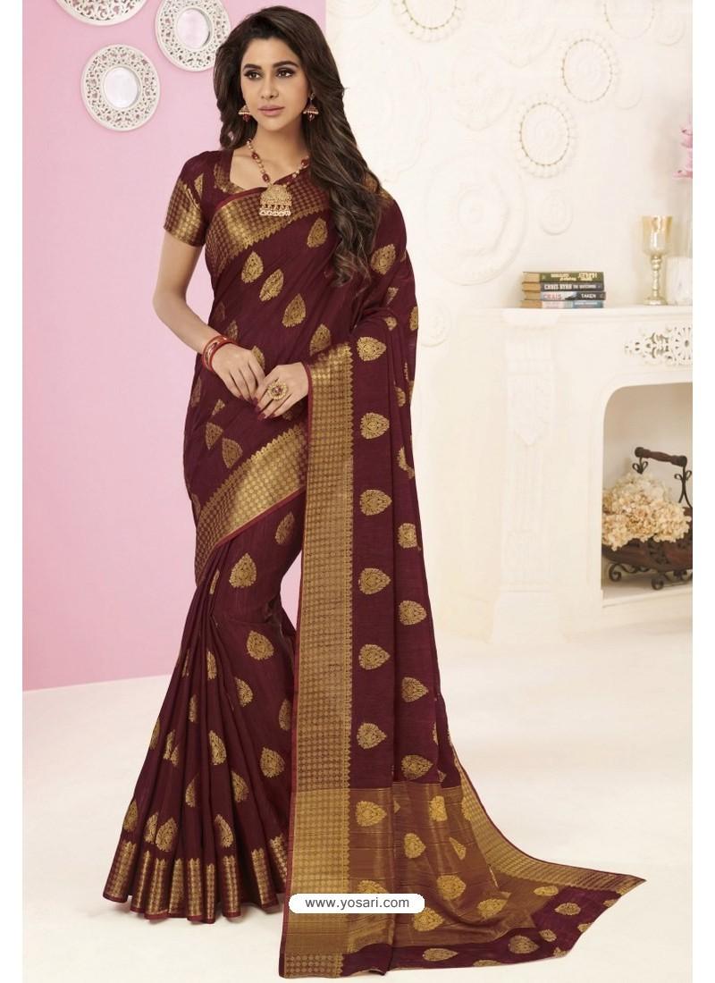 Brown Tussar Silk Designer Saree
