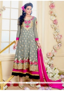 Desirable Grey Zari Work Georgette Anarkali Salwar Suit
