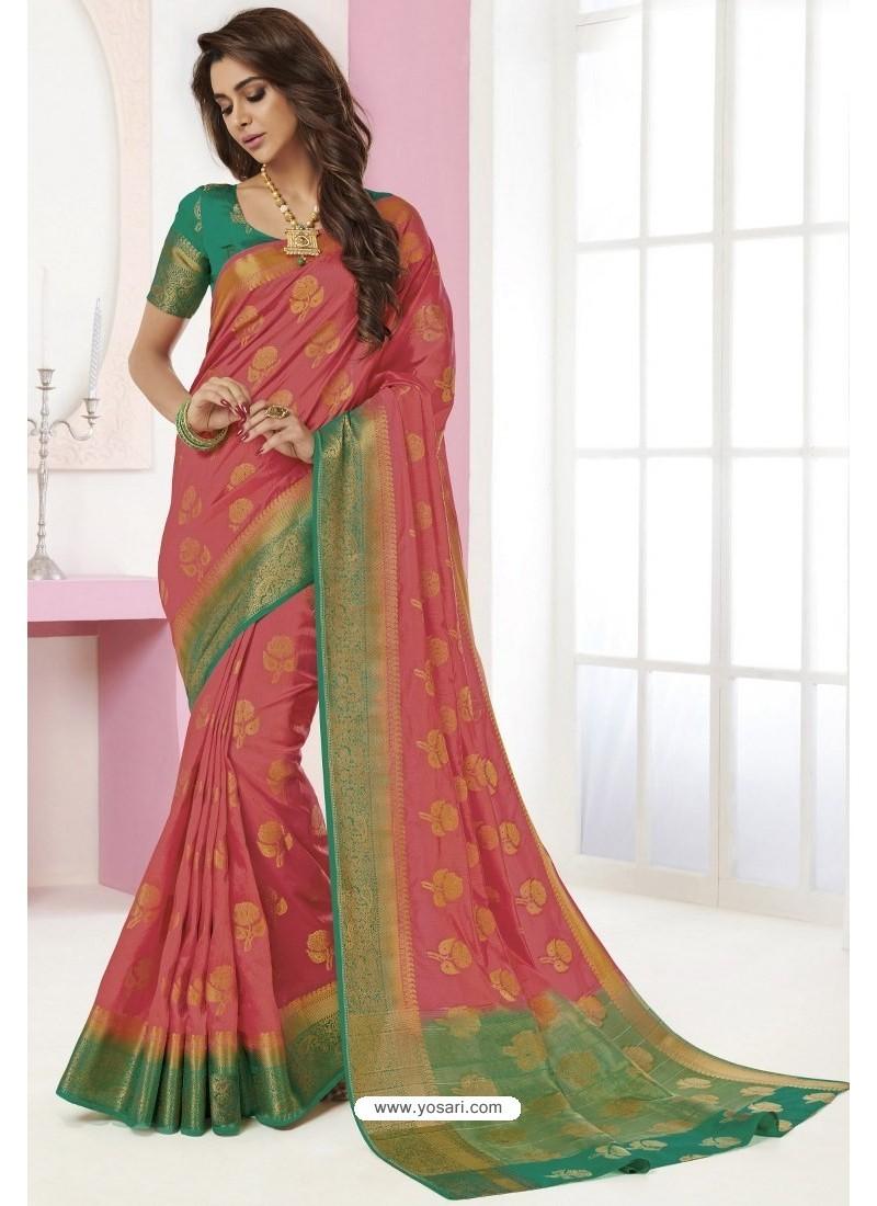 Hot Pink Tussar Silk Designer Saree