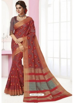 Multi Colour Tussar Silk Designer Saree