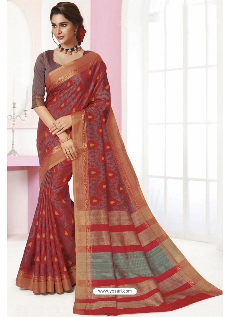 Multi Colour Tussar Silk Designer Saree