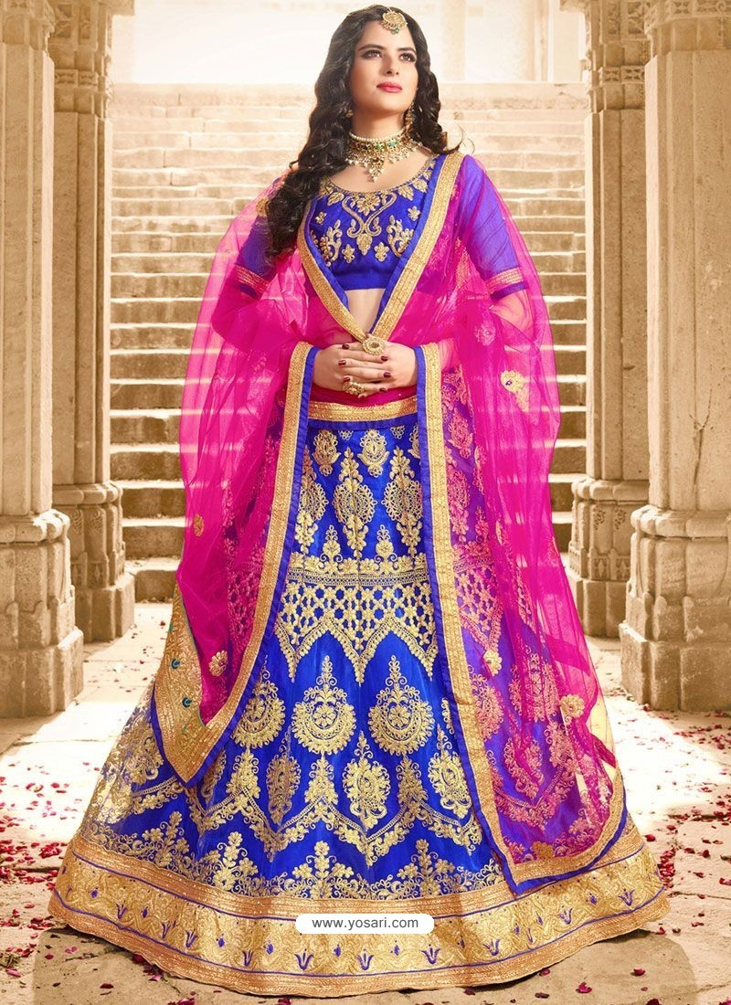 Royal Blue Net Embroidered Lehenga Choli