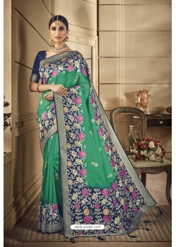 Aqua Mint Party Wear Silk Sarees