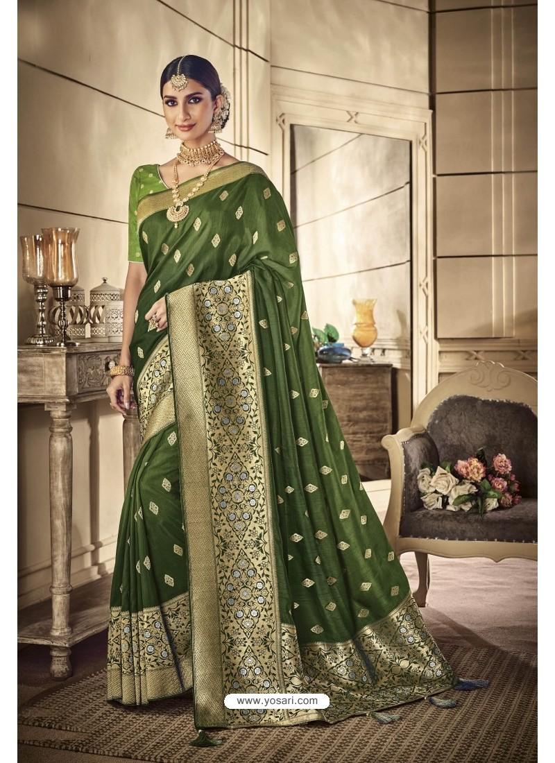 Mehendi Party Wear Silk Sarees