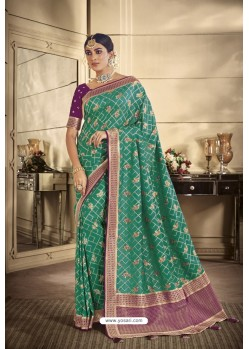 Teal Party Wear Silk Sarees