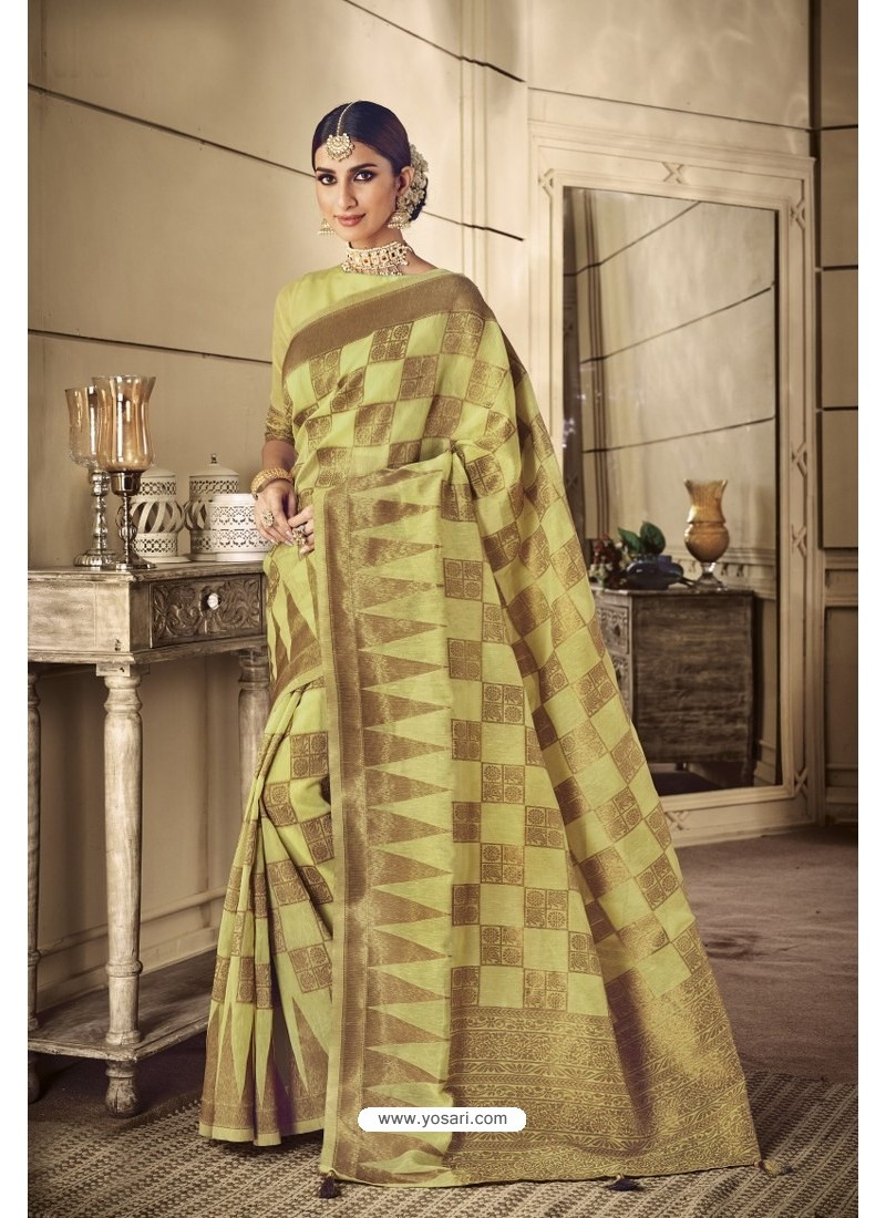 Lemon Party Wear Silk Sarees
