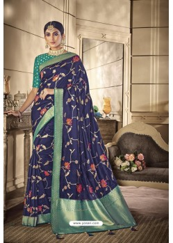 Navy Blue Party Wear Silk Sarees