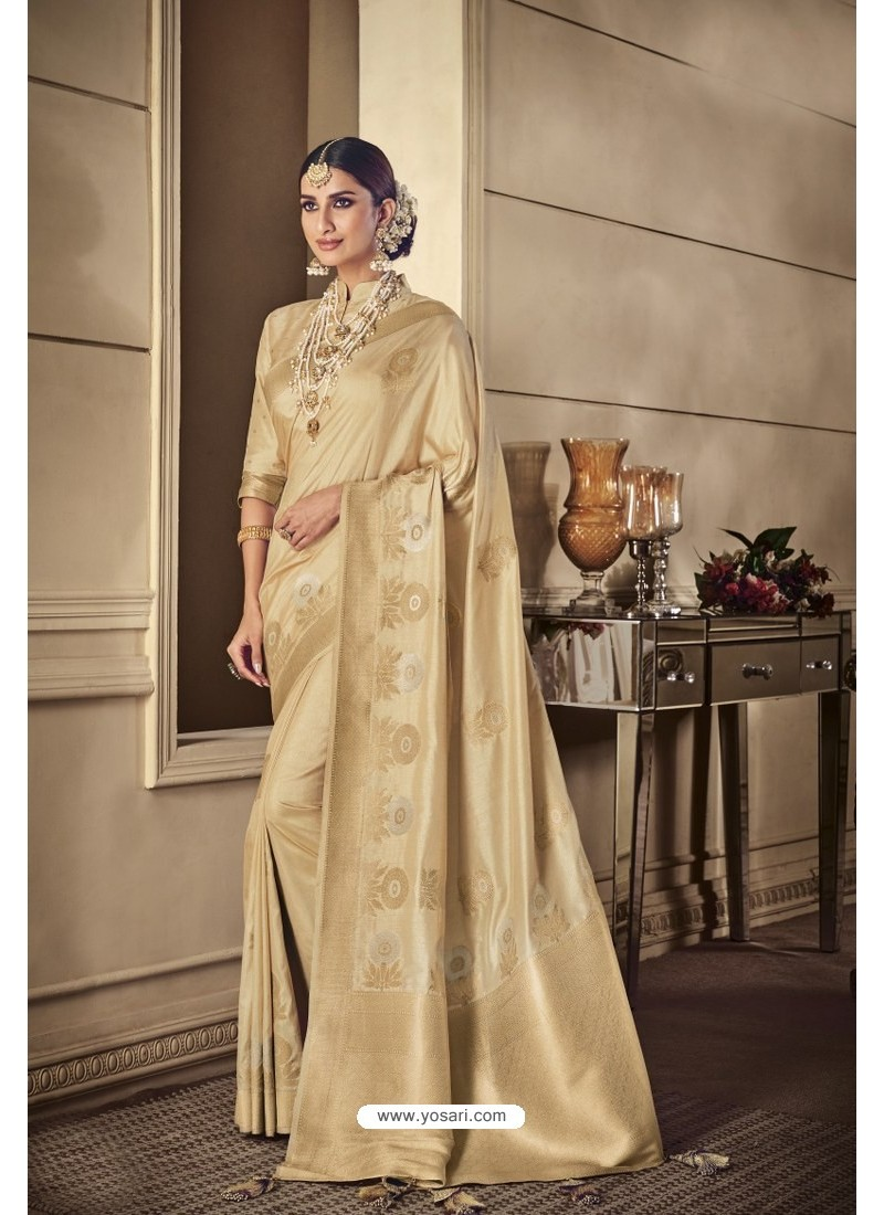 Light Beige Party Wear Silk Sarees