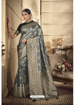 Grey Party Wear Silk Sarees