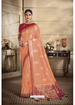 Light Orange Party Wear Silk Sarees