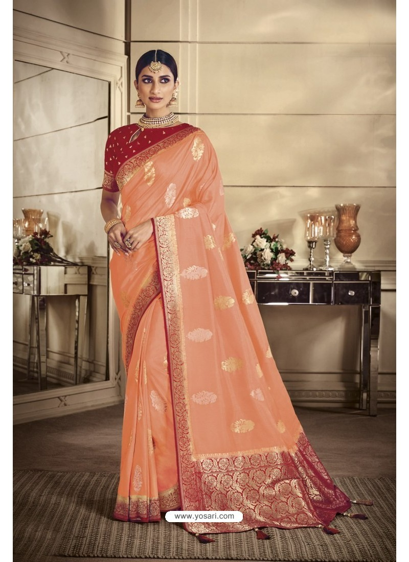 Light Orange Party Wear Silk Sarees