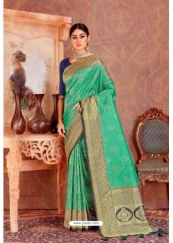 Jade Green Soft Silk Jacquard Worked Designer Saree
