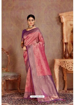 Medium Violet Soft Silk Jacquard Worked Designer Saree