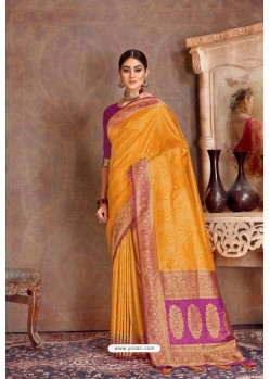 Yellow Soft Silk Jacquard Worked Designer Saree