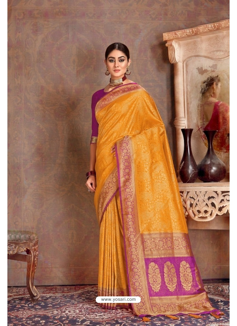 Yellow Soft Silk Jacquard Worked Designer Saree