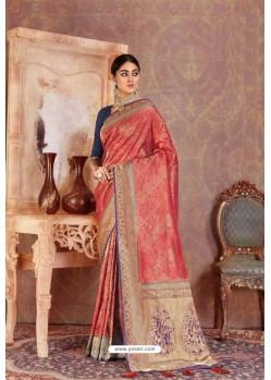 Red Soft Silk Jacquard Worked Designer Saree