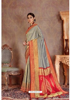 Grey Soft Silk Jacquard Worked Designer Saree