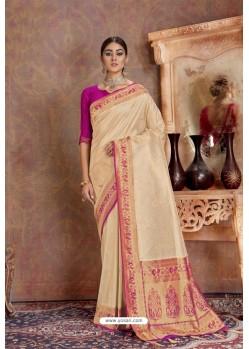 Light Beige Soft Silk Jacquard Worked Designer Saree