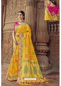Yellow Designer Traditional Silk Saree