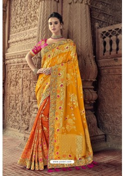 Orange And Yellow Designer Traditional Silk Saree