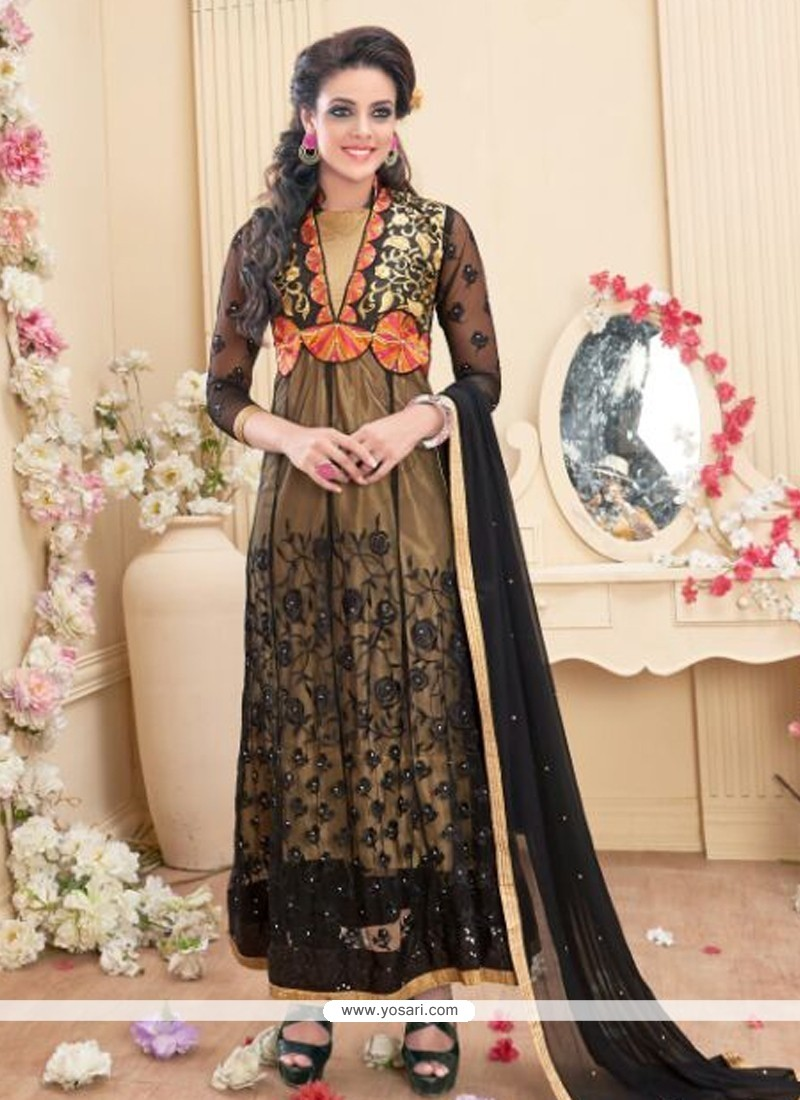 Splendid Georgette Black Anarkali Salwar Kameez