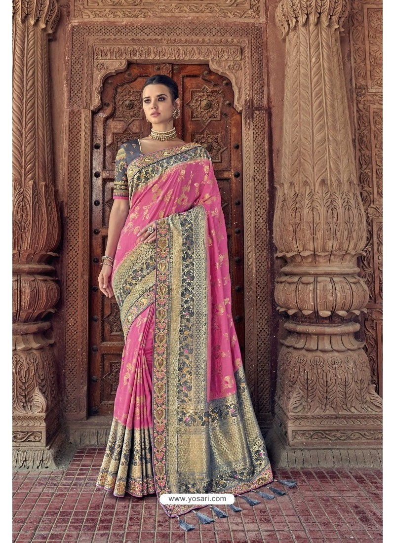 Light Pink Designer Traditional Silk Saree