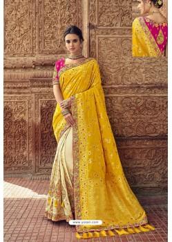 Yellow And Cream Designer Traditional Silk Saree