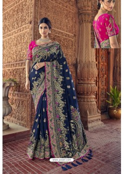 Navy Blue Designer Traditional Silk Saree