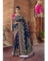 Navy Blue Designer Traditional Silk Saree