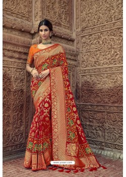 Red Designer Traditional Silk Saree