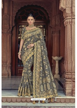Grey Designer Traditional Silk Saree