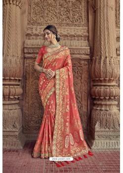 Peach Designer Traditional Silk Saree