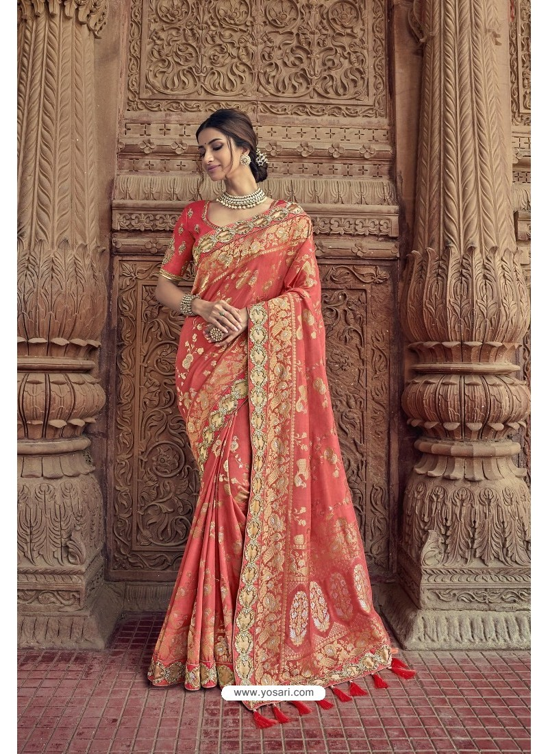 Peach Designer Traditional Silk Saree