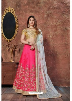Gold And Fuchsia Mulbury Silk Embroidered Designer Lehenga Choli