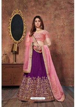 Pink And Purple Mulbury Silk Embroidered Designer Lehenga Choli
