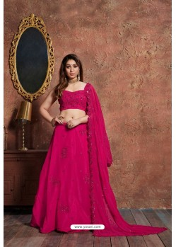 Rose Red Georgette Embroidered Designer Lehenga Choli